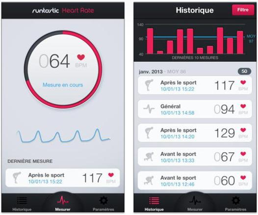 runtastic frequence cardiaque